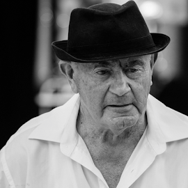 70 years of music by Annette Flottwell - People Portraits of Men ( lines of life, dennis, elderly, mono, hat,  )