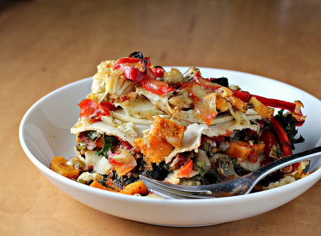 Stacked Roasted Vegetable Enchiladas Recipe | Yummly