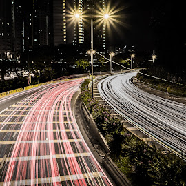 Welcome to KL by Matizki Blixten - Buildings & Architecture Office Buildings & Hotels ( lights, traffic, asia, malaysia, kl, kuala lumpur, roadway )