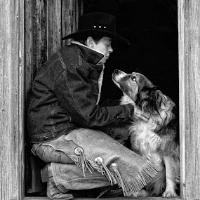 At the Cabin Door by Twin Wranglers Baker - Black & White Portraits & People (  )