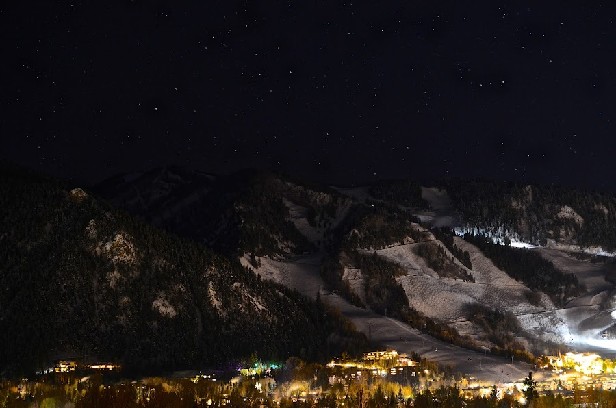 Starry Night in Aspen by Seamus Crowley - Landscapes Starscapes ( lights, skiing, co, starts, mountain, snow, ajax, colorado, night, city, aspen )