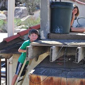 Looking for the Baseball? by Savannah Eubanks - Babies & Children Children Candids ( roof, ladder, desert, two, kids )
