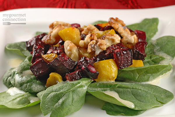 Roasted Beet, Walnut and Baby Spinach Salad Recipe | Yummly