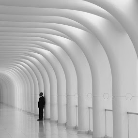 Alone by VAM Photography - Buildings & Architecture Other Interior ( interior, building, b&w, architecture, man,  )