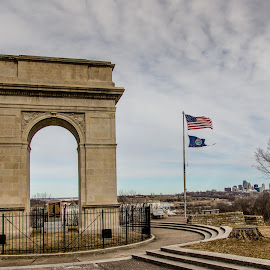 WWI Memorial Arch  by Teresa Husman - City,  Street & Park  City Parks ( skyline, memorial, arch, kansas city, abandonded,  )