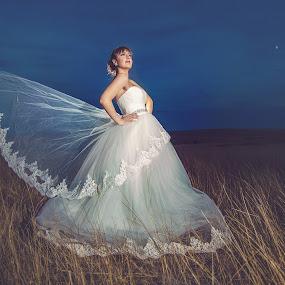 Angel wings by MIHAI CHIPER - Wedding Bride ( moon, wedding, beautiful, bride, trash the dress )