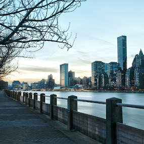 DowntownNYC by Josh Balduf - City,  Street & Park  Vistas ( sunset, buildings, trees, downtown, sidewalk, river )