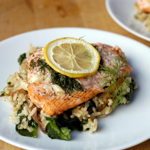 Garlic-dill Salmon Over Rice With Caramelized Onions And Spinach