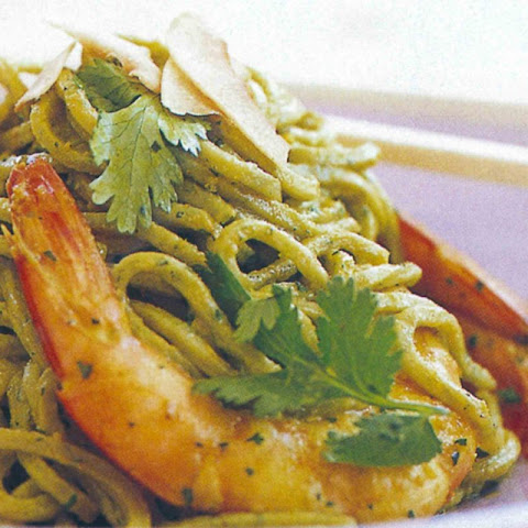 Oven-roasted Prawns With Coriander Noodles