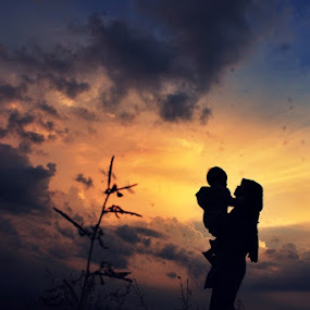 at the end of the twilight with mother.... by Irfan Hikmawan - People Fine Art