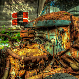 Under The Hood by Chris Cavallo - Transportation Automobiles ( maine, truck, rusty, rust, decay, abandoned )