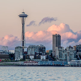 Space Needle by Brad Larsen - City,  Street & Park  Vistas ( clouds, landmark, building, structure, landscape,  )