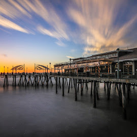 Eve On the Pier by Craig Rowtham - Landscapes Travel ( redondo beach pier, sunset, california, pacific, long exposure, ocean )