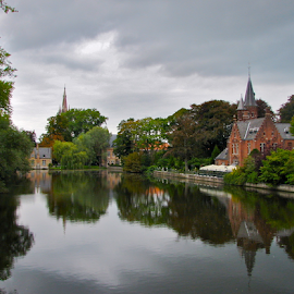 Première Impression by Art Blum - Landscapes Travel ( water, stormy, flanders, churches, reflections, bruges, lake, grey, belgium, travel, landscape,  )