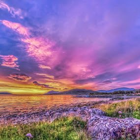 Magic sunset by Benny Høynes - Landscapes Sunsets & Sunrises ( red, purple, colors, sunset, landscapes, norway )