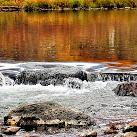 Fall colors  in the water by Bruce Newman - Landscapes Waterscapes ( moving water, fall colors, waterscape, nature and wildlife, rapids, river )