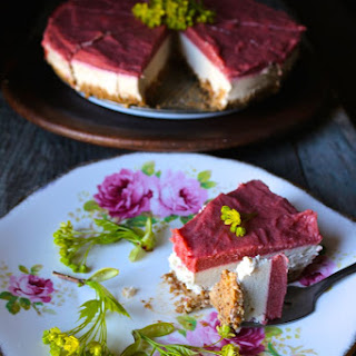 Roasted Rhubard + Vanilla Cream Raw Pie