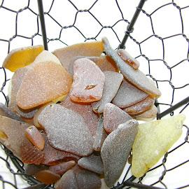 Sea glass by Vali Tina - Abstract Macro ( sea glass brown broken, forms random )