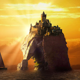 Sunny Castle by Charlie Alolkoy - Illustration Places ( water, rock, sail, castle, ocean, boat, sun, island )