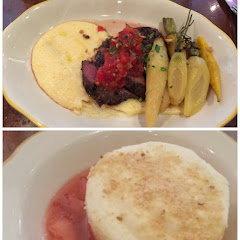 Lamb special with creamy polenta and carrots, Italian custard with berry compote.