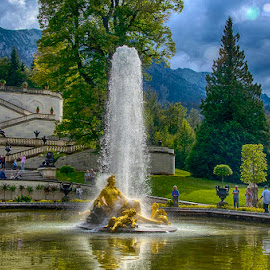 Fountain in Linderhof Castle by Pravine Chester - City,  Street & Park  Fountains ( water, photograph, park, fountain, linderhof castle, places )