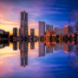 Minato Mirai Harbour by Nyoman Sundra - City,  Street & Park  Amusement Parks ( japan, sunset, sakuragicho, cityscape, minato mirai, yokohama, city park )