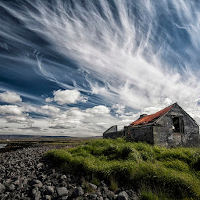 By the Shore by Þorsteinn H. Ingibergsson - Landscapes Cloud Formations ( clouds, iceland, old farm, sky, nature, structor, landscape, abandoned )
