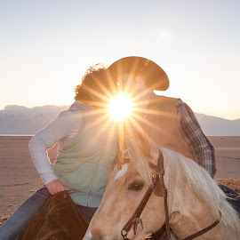 The dawn of love by Steve Densley - People Couples ( kiss, kissing, horses, sunrise, couples, engagement,  )