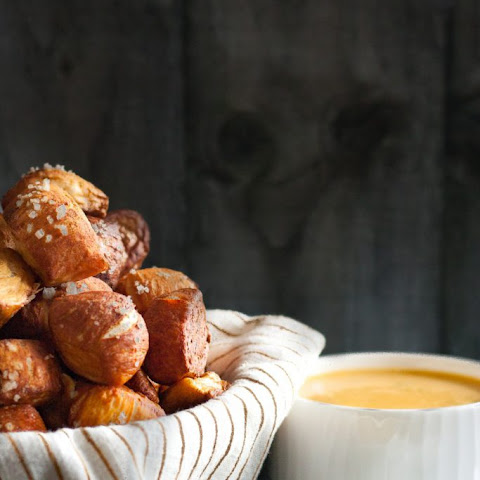 Pretzel Bites with Green Chili Cheddar and Mustard Dipping Sauces