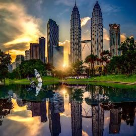 Sunset by Tien Sang Kok - City,  Street & Park  City Parks ( reflection, sunset, architecture, cityscape, nightscape )