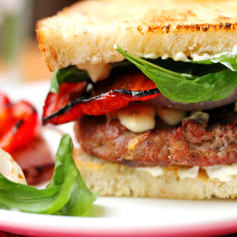 Grilled Blue Cheese and Bacon Basil Turkey Burgers