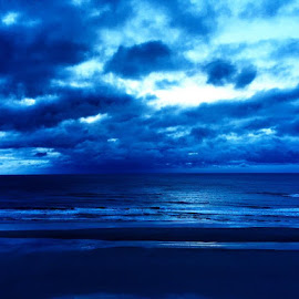 Blue Beachin' by David Plummer - Landscapes Beaches ( sand, sky, blue, florida, daytona beach, ocean )