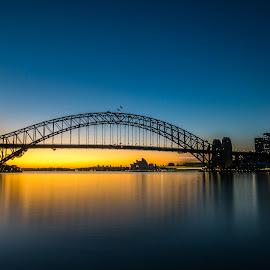Harbour Bridge Dawn by Jeremy Herbert - Buildings & Architecture Bridges & Suspended Structures ( harbour bridge, dawn, seascape, landscape, sydney )