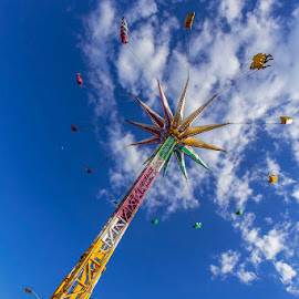Sky Swing by Jeff McVoy - City,  Street & Park  Amusement Parks ( ride, sky, amusement park, colorful, blue, county fair, swing, fair, sky swing )