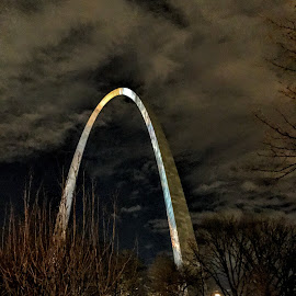 Gateway Arch at Night by Michael Smith - Buildings & Architecture Statues & Monuments ( clouds, national expansion memorial, missouri, sky, arch, gateway arch, night, monument, st. louis, city )