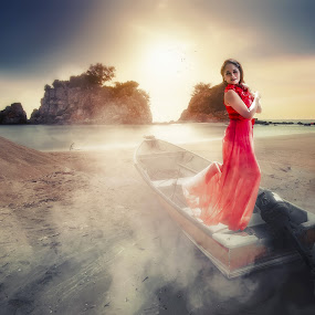 The Hunt for Red October by MSR Photography - Digital Art People ( red, dress, dramatic, boat, women, manipulation )