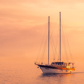 At sunset by Ivan Ivanov - Transportation Boats ( orange, sunset, gold, travel, transportation, boat, sun, golden )