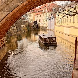 Boat in Praque by Michaela Firešová - Transportation Boats ( water mill, bridge, boat, river )