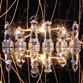 Chess and Sparkler zone. by Peter Salmon - Artistic Objects Glass