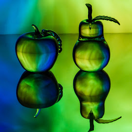 Green and Blue Apple and Pear by Lisa Hendrix - Artistic Objects Glass ( fruit, reflection, blue, color, apple, green, colors, artistic, glass, object, inverted, pear )