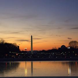Washington Memorial, DC by Madhav Mane - City,  Street & Park  Skylines ( city at night, street at night, park at night, nightlife, night life, nighttime in the city )