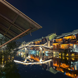 Water Village by Crispin Lee - Buildings & Architecture Homes ( lights, waterscape, buildings, architecture, china, nightscape )