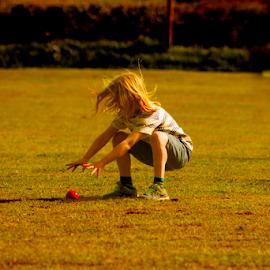 Fielding at cricket by Nick Stewart - Sports & Fitness Cricket ( playing, child, girl, cricket, sport, fielding )