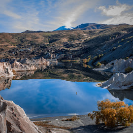 Blue Lake, St Bathans, New Zealand by Bill McPhail - Landscapes Mountains & Hills ( central otago, blue lake, gold mining, st bathans, new zealand, relax, tranquil, relaxing, tranquility,  )