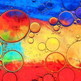Colorfully by Petar Shipchanov - Digital Art Abstract ( water, colorful, bubbles, circle, cian, oil, yelloq, bubble, circles, red, blue, color, violet, soap, gold )