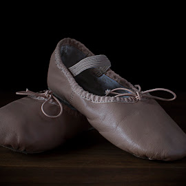 Intermission by Dale Minter - Artistic Objects Clothing & Accessories ( black background, slippers, pink, ballet, small )