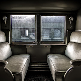 Passenger Car Seats by Bruce Lindman - Artistic Objects Furniture ( window, green, train, seats, art deco )