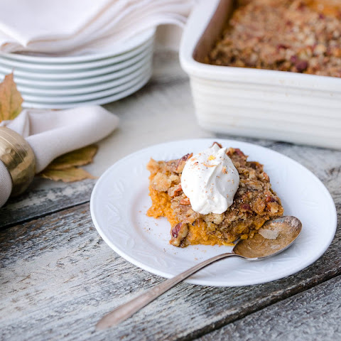 Crustless Pumpkin Pie with brown sugar-pecan crumble