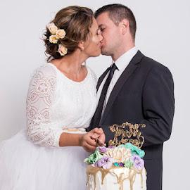Cut the Cake by Mel Stratton - Wedding Bride & Groom ( cake, married, wedding, bride, groom,  )