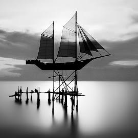 Boat In The Sky  by Luna Almira  Ali - Black & White Landscapes